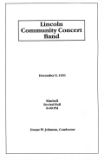 Lincoln Community Concert Band, December 9, 1991