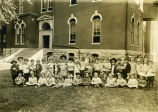 Children in front of science building