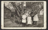 Nelson children around a tree