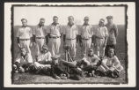 Postcard of baseball team and bat boy